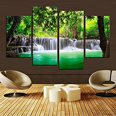 H.COZY green waterfall HD pictures of modern art print canvas painting the living room wall decoration (No frame) far73 48x28 inch