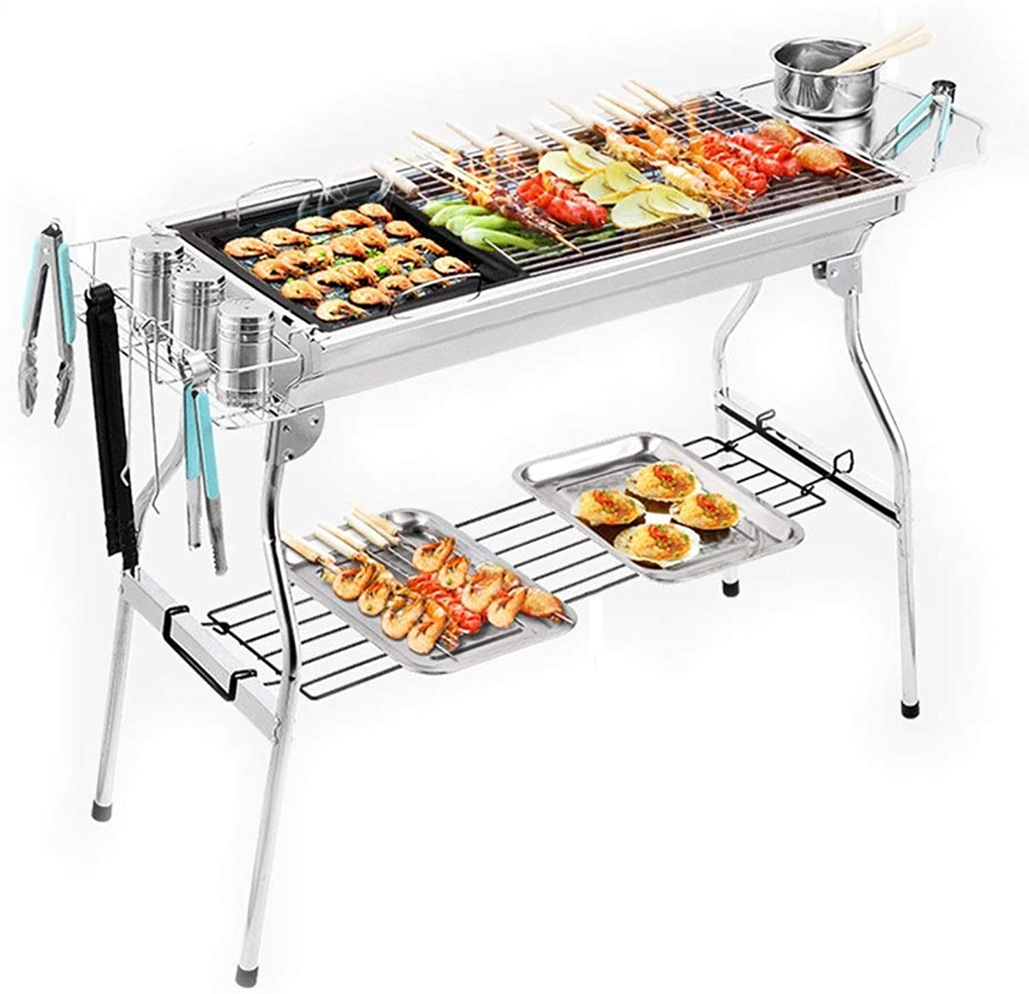BBQ Supplies Barbecue Easy Barbecues Tool Set Stainless Steel Grill Charcoal Grill Outdoor Grill for More Than 5 People FullFeature Picnic Tools Folding Garden Grill