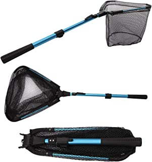 YVLEEN Folding Fishing Net - Foldable Fish Landing Net Robust Aluminum Telescopic Pole Handle and Safe Fish Catching or Re...