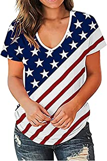 Womens Stars and Stripes Stitching Oversize Fit V-Neck Short Sleeve T-Shirt