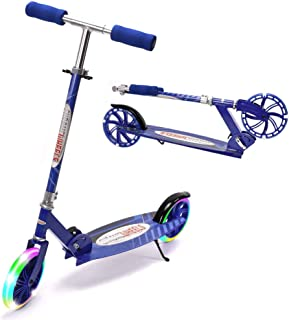 """ChromeWheels Kick Scooter, Deluxe 8"""" Large 2 Light Up Wheels Wide Deck 5 Adjustable Height with Kickstand Foldable Scooters, Best Gift for Age 9 up Kids Girls Boys Teens, 200lb Weight Limit"""
