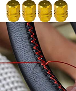 Black+Red Genuine Leather DIY Car Steering Wheel Cover With Needles and Thread (37-38cm)