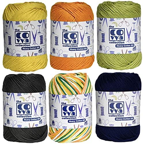 KACHVI - Gomitoli di filato di cotone 100% a 8/8 strati per maglieria, decorazioni per la casa, guanti e articoli fatti a mano, confezione da 6 (grigio, oro, albicocca, delta, verde, blu)