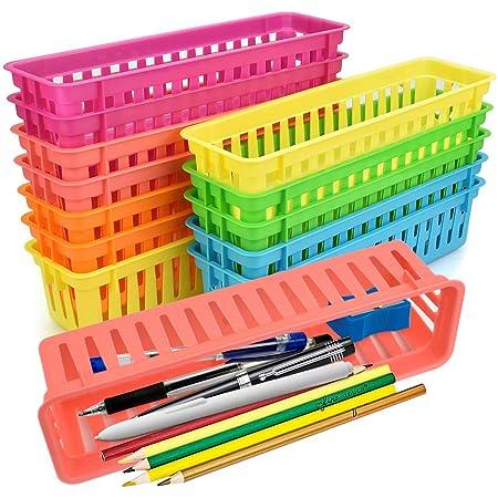 LYTIVAGEN 12 PCS Paniers à Crayons Rectangulaire Organisateur de Crayons en Plastique Panier de Rangement Coloré 6 Couleurs pour Stocker Crayons Papeterie Collations Fournitures de Bureau(25.5*7*6cm)