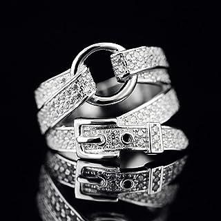 LYWZX Anello Regolabile Donna Anello Regolabile in Argento A Forma di Cintura Cinturino in Cristallo di Zircone Gioielli d...