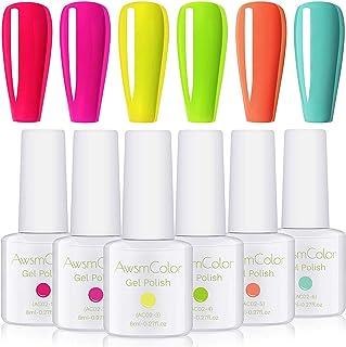 AwsmColor Gel Nail Polish Set, Neon UV LED Soak Off Nail Gel Kit, 2020 Nail Design Bright Red Pastel Pink Jelly Rainbow Gel Polish 6 Bottles 8ML Soak Off Gels for Girl Women