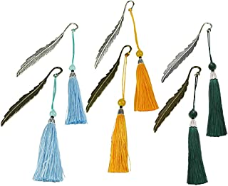 6Pcs Vintage Tassel Metal Pendant Bookmark, Creative Classical Pattern Leaves with Beaded Tassels for Adults Kids Bookworms
