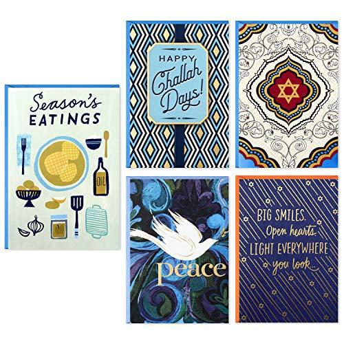 Hallmark Tree of Life Hanukkah Cards Assortment, Happy Challah Days (5 Cards with Envelopes)