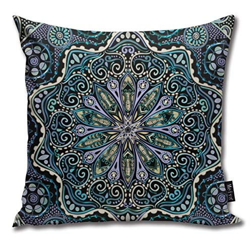 ewretery Mandala Cool Purple Blue Green Black New Age Boho Cushion Covers Home Decorative Throw Pillowcases for Livingroom Sofa Bedroom Car 18X18inch