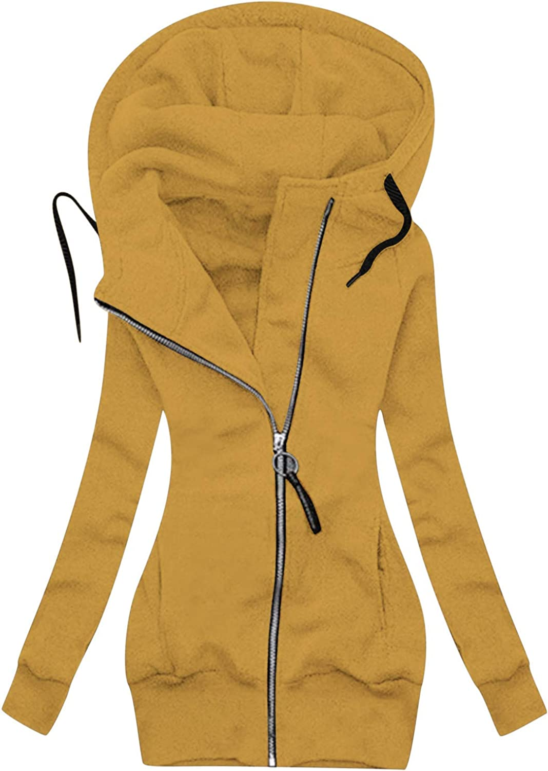 POTO Women Oversized Stitching Jackets Hoodie Casual Zip Up Pullover Tops Fluffy Fleece Outwear Coats with Pockets