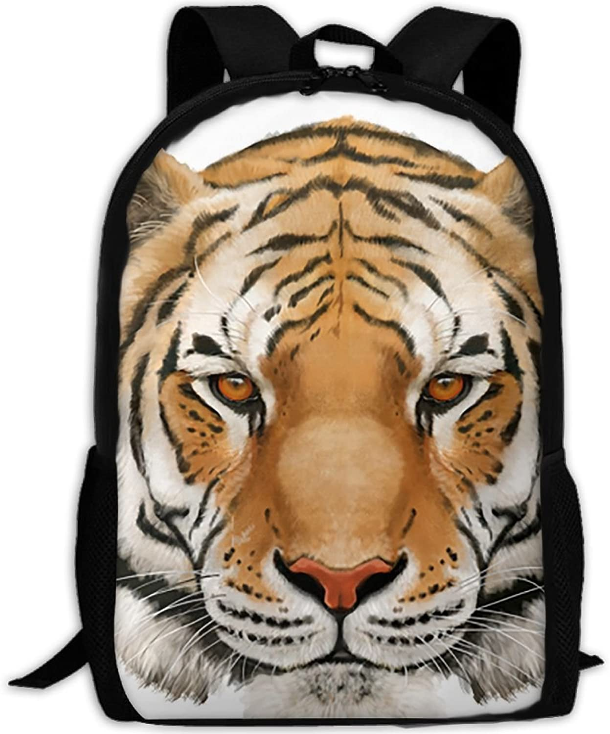 Backpack Laptop Travel Hiking School Bags Drawn Tiger Daypack Shoulder Bag