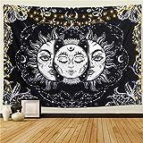 NA/ Tapiz de Pared Mandala Bohemio Indio Tapicería de Hippie Colgante de Pared Sol y Luna Negros Tapestry Toalla de Playa Manta de Picnic Estera Tela Playa-150x150cm