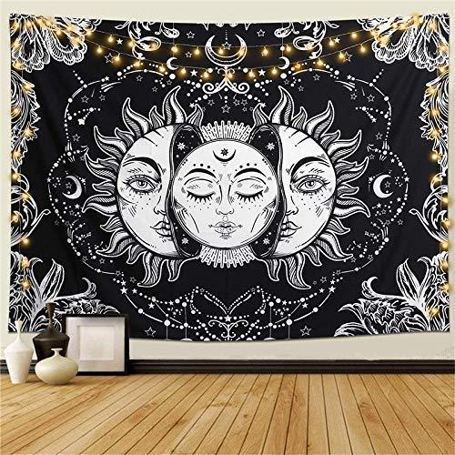 NA/ Tapiz de Pared Mandala Bohemio Indio Tapicería de Hippie Colgante de Pared Sol y Luna Negros Tapestry Toalla de Playa Manta de Picnic Estera Tela Playa-130x150cm