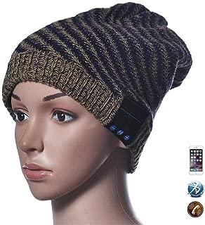 HomJo Bluetooth Headphone Beanie Soft Wool Warmer Hat Wireless Music Caps with Speaker Mic for Men and Women , yellow