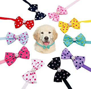 JpGdn 10pcs Dog Bowties Polka Dot Neckties with Fake Pearls for Puppy Doggy Small and Medium Animals Pet Bow Ties Adjustable Collar Accessories Decorative Costume