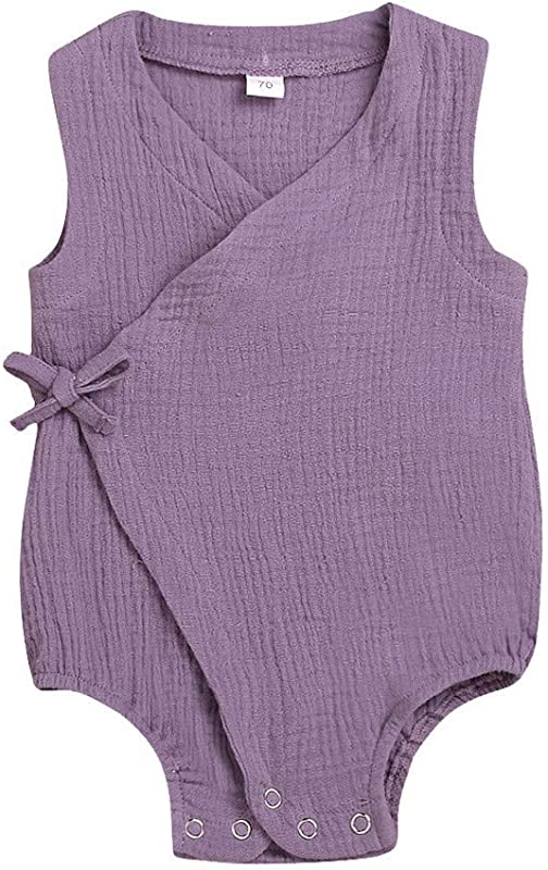 RoDeke Baby Girl S Summer Dress Casual Clothing Sleeveless Solid Color Bandage Bodysuit Jumpsuit Outfit