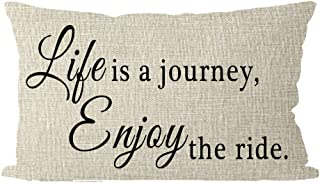 ITFRO Nice Sister Gift Inspirational Words Life is A Journey Enjoy The Ride Cream Lumbar Waist Burlap Throw Pillow Case Cushion Cover Couch Sofa Living Room Decorative Rectangle 12x20 inches