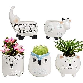 Succulent Planter Pots - Cute Ceramic Animal Set, Cat Cow Elephant Fox Owl, Christmas Home Decor Gifts
