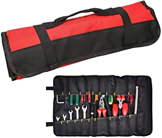 Wrench Roll Up Pouch Red Coiling Block Bag Rolling Organizer Carrier Box Big Tote Carrier Socket Tray with 38 Pockets Sockets and Handle (Color : Black, Size : M)