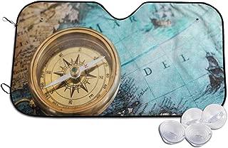 Deaowangluo Car Windshield Sun Shade Old Compass On World Map Blocks UV Rays Sun Visor Protector 130x70cm
