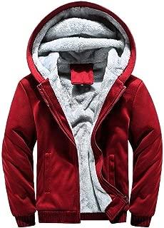 Men Jackets with Hood Zipper Winter Warm Fleece Plus Velvet Lightweight Pocket Long Sleeve Hoodies Coat Pullover Tops