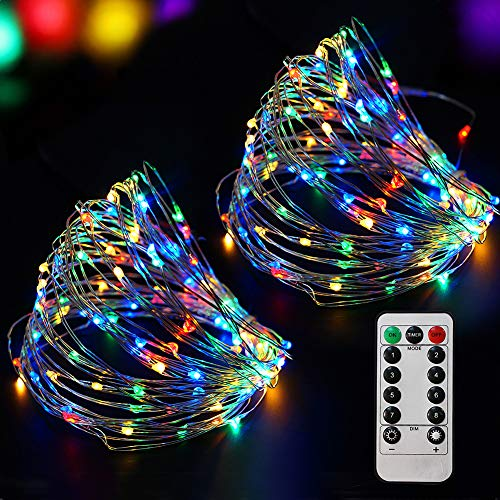 Bright Zeal 66 Ft 200 LED 8 Mode Multi Colored Christmas Fairy Lights Battery Operated With Remote Control Christmas Lights Outdoor Multicolor Waterproof - Twinkle LED Christmas String Lights Colorful