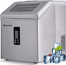 Sentern Portable Electric Clear Ice Maker Machine Stainless Steel Countertop Ice Making Machine 2.4 lbs Ice Storage 48 lbs Per Day, Real Clear Ice Cubes, Actual Ice, Crystal clear ice (Silver-1)