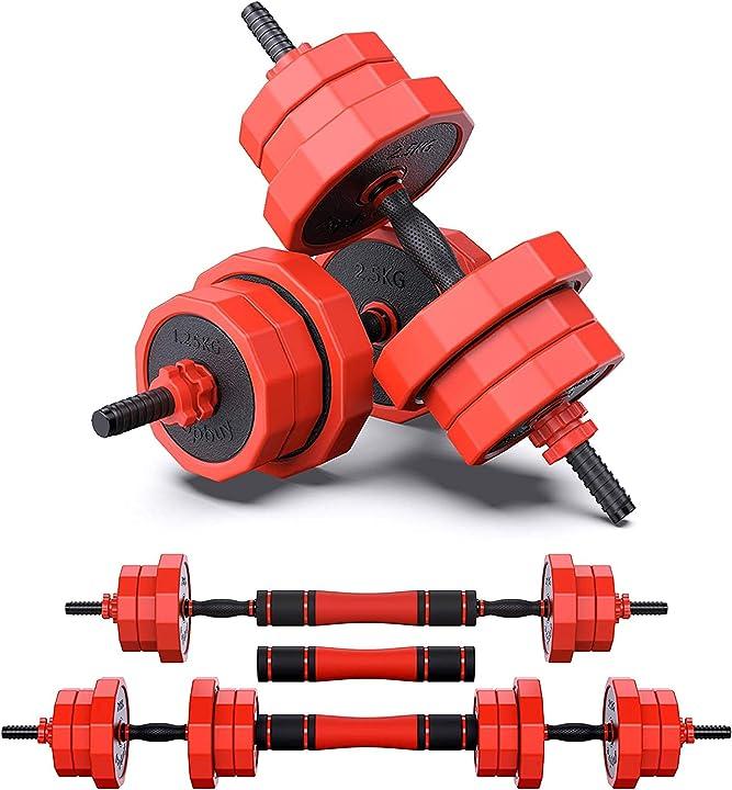 Manubri regolabili bilanciere pesi liberi 20 kg (8 x 1,25 kg+4 x 2,5 kg) 2 in 1 set onev ft B0921441C5