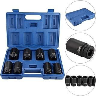 Qiilu 3/4 Inch Impact Socket Set 24mm 27mm 29mm 30mm 32mm 35mm 36mm 38mm, 8pcs Heavy Duty Drive Deep Socket Wrench