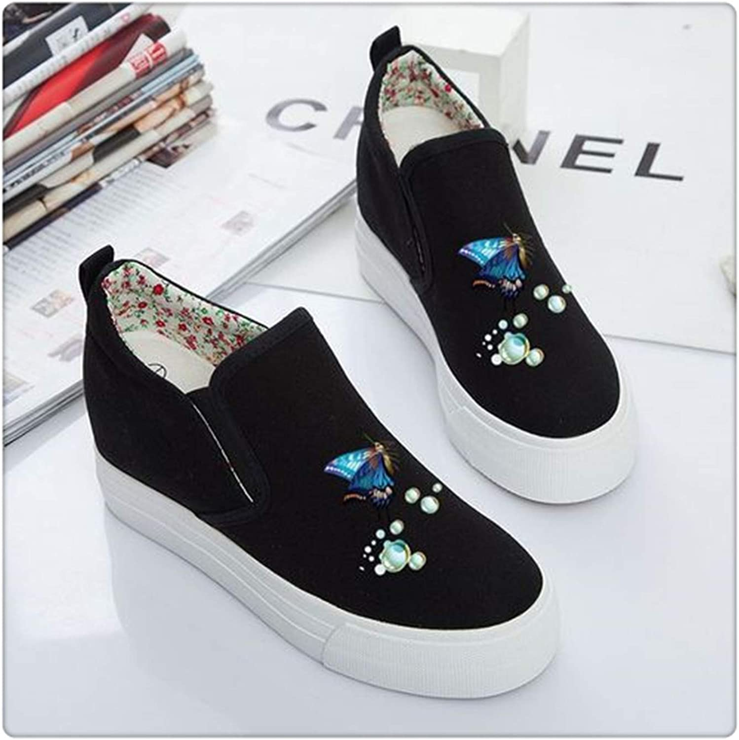 Sweet Women's shoes Platform 2019 Autumn Slip on Canvas shoes Women Loafers Casual Espadrilles White Black Creepers Black Butterfly 4.5