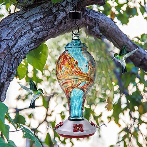 Hummingbird Feeder Bird Stand Outdoor Garden Hand-Blown Glass Hummingbird Feeder, Hand-Made Glass, Sturdy and Oil-Resistant.