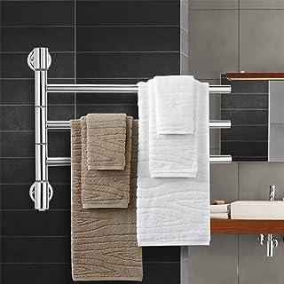 XSGDMN Acero Inoxidable de Toallas, Toalla 180 ° Giratorio Calentador eléctrico y tendedero, montado en la Pared toallero radiador con 3 Bares, para el baño
