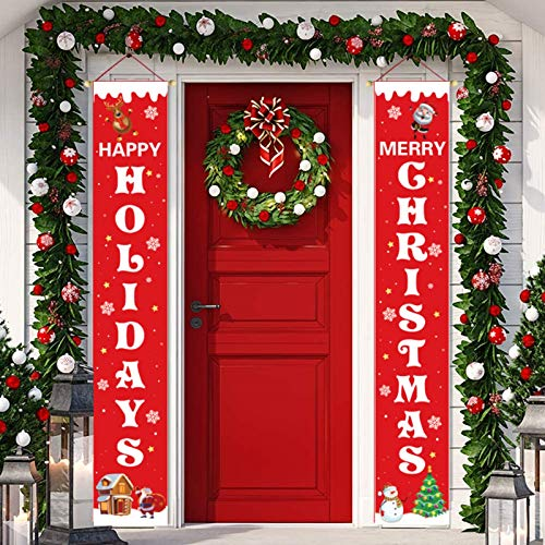 Merry Christmas Banner Red Happy Holidays Christmas Porch Sign Front Door Hanging Decorations for Christmas Home Wall Indoor Outdoor