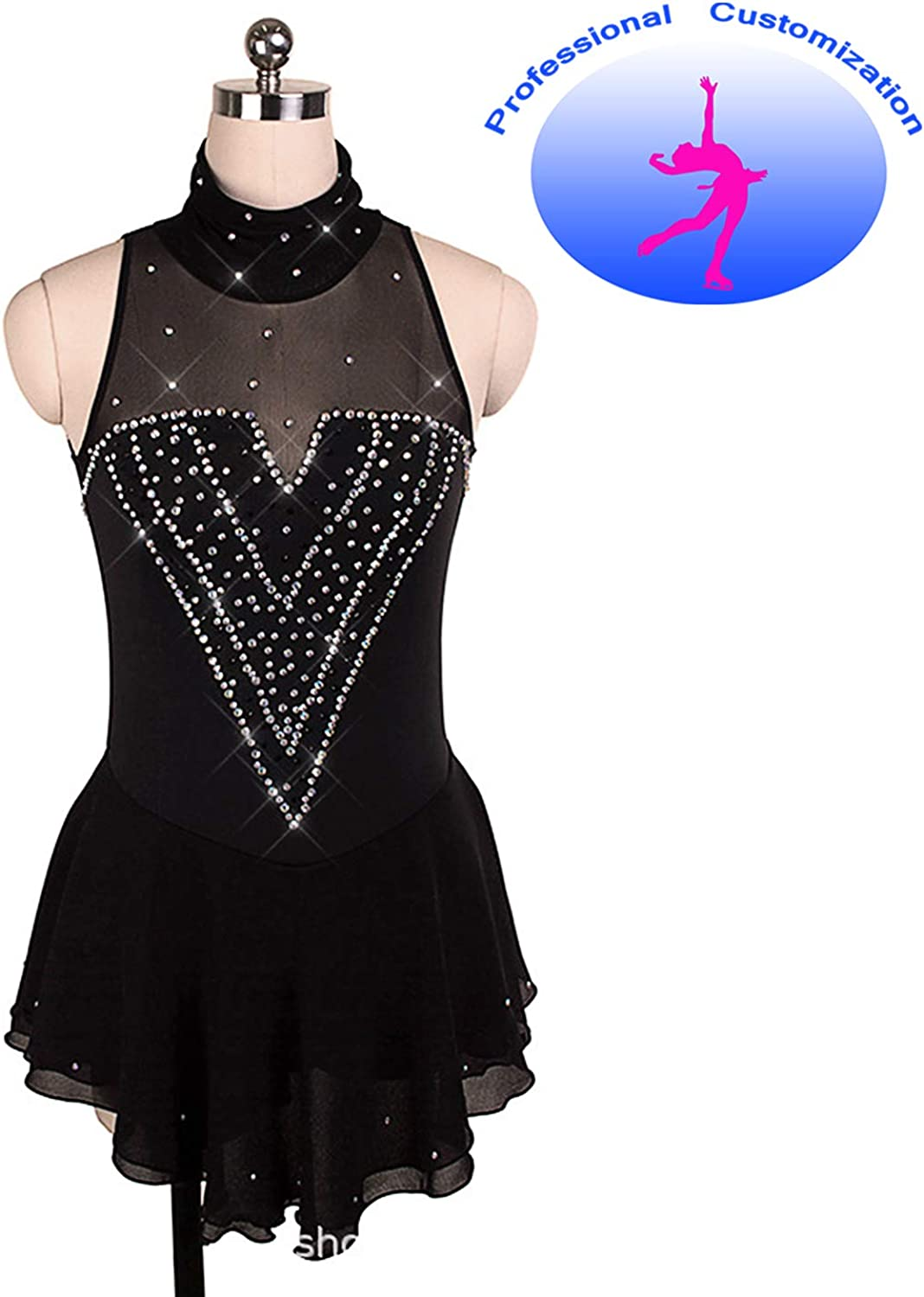 CUIXI Ice Skating Dress Competition Rhythmic Gymnastics Leotard for Girls and Women Handmade Figure Skating Professional Competition, Sexy Comfortable High Stretch Nylon Sleeveless