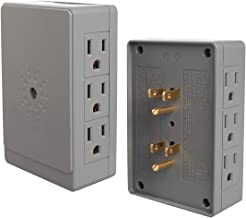 IIT 2 Side Entry 6-Way Electrical Socket Outlet Splitter in-Wall Tap Adapter in Grey (2 Pack)