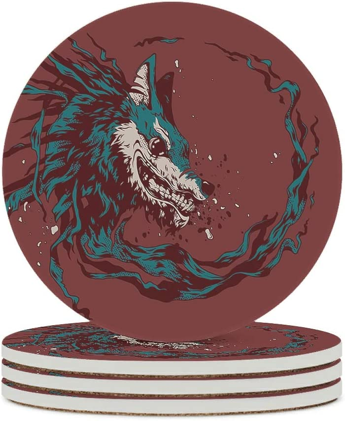 Alskyonyg Cruel Wolf Ceramic Coaster Round C Max 50% OFF Cork with Gift Base Free shipping on posting reviews