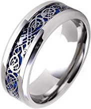 Tanyoyo 8MM Celtic Dragon Ring for Men Women Titanium Stainless Steel Wedding Band