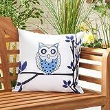 Gardenista Cojín Relleno Resistente al Agua y para Exteriores | Diseño con Patrones Coloridos | Accesorio para Muebles de Jardín| Almohadas Decorativas de | 45 x 45 cm (Owls Purple)