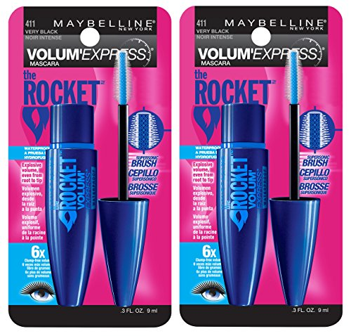 Maybelline New York Volum' Express The Rocket Waterproof Mascara Makeup, Very Black, 2 Count