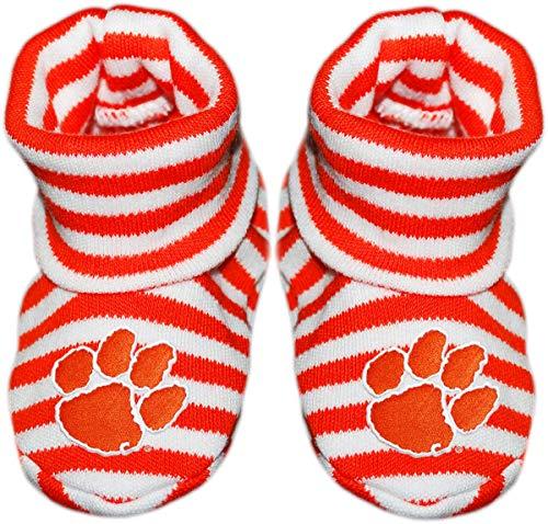 Clemson University Newborn Baby Striped Bootie Sock