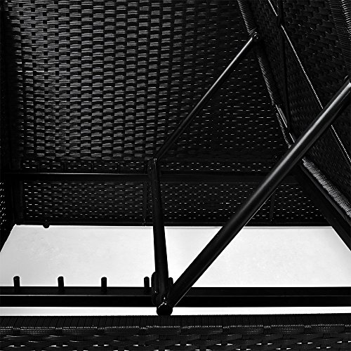 Polyrattan Liege mit Rückenlehne schwarz 7cm dicke Sitzauflagen verstellbarer Liegefläche - 5