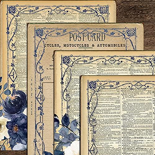 Morantsale 4 hojas de encaje de flores azules página antigua material pegatinas...