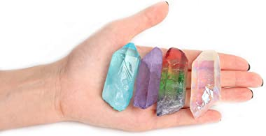 JIC Gem 4 pcs Auqa Aura, Angel Aura, Angel Amethyst, Tourmaline Healing Crystal Single Point Wand Natural Gemstone Polished T