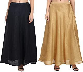 Combo of Shararat Women's Long Indo Western Traditional Skirt (Free Size: stretch from 28 to 36 inches)
