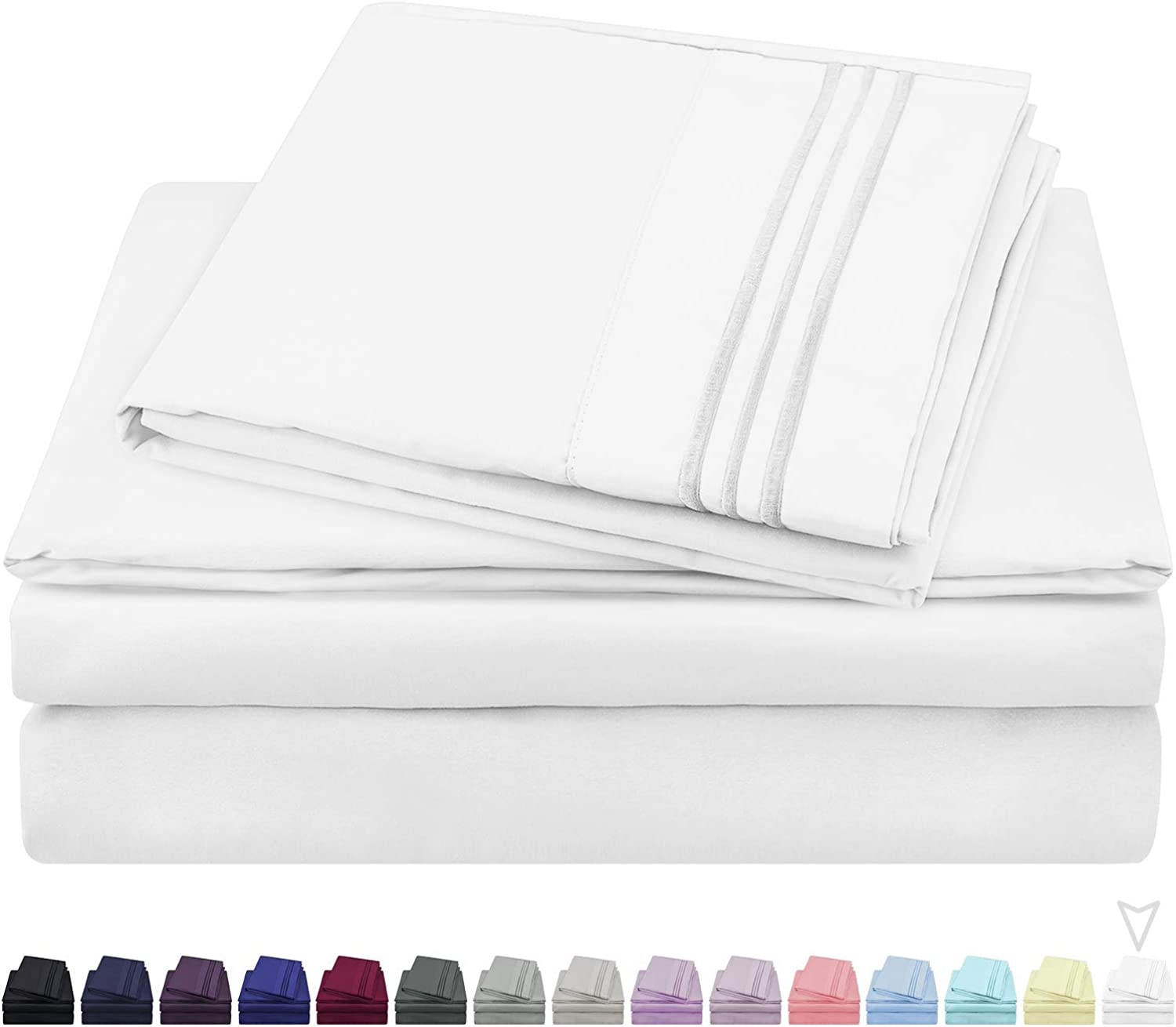 HOMEIDEAS Hotel Luxury Soft 1800 Series Premium Bed Sheets Set  105 GSM Soft Microfiber Bedding Sheets  Deep Pockets, Hypoallergenic, Wrinkle & Fade Resistant (King,White)