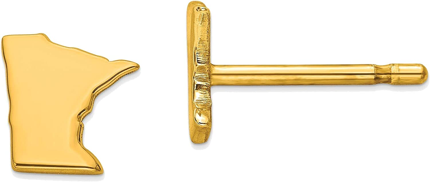 14kt Yellow Gold MN Small State Earring