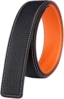 Reversible Men's Belt Strap Without Buckle Genuine Full Grain Leather Adjustable 1.34