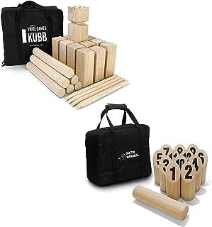 YardGames Kubb Premium Wooden Game Set with Storage Bag Bundle with Yard Games Burned Hardwood Outdoor Scatter Toss Target...