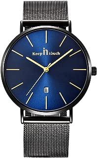 Infinito U-Reloj Impermeable para Hombres Relojes Deportivo de Cuarzo Analógico Relojes Lujoso Moda Casual Reloj Redondo Negro/Azul Fecha