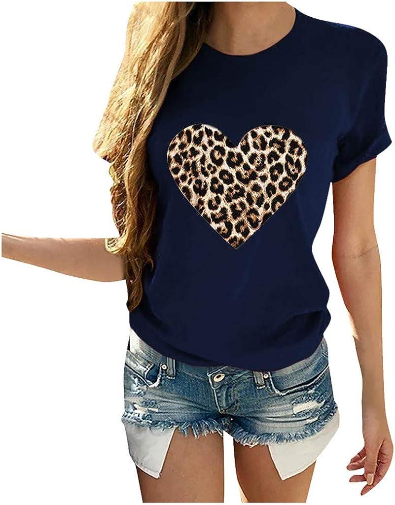 COOKI Regular store Womens Valentine's Day Max 53% OFF Graphic Shirts Women's Tee Leopard